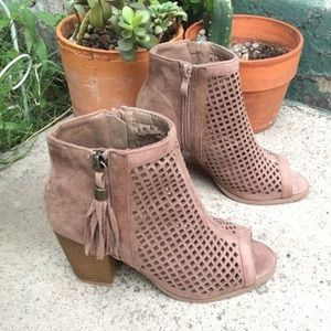 Shoes - CUTE TAUPE SUEDE TASSEL ANKLE BOOTS